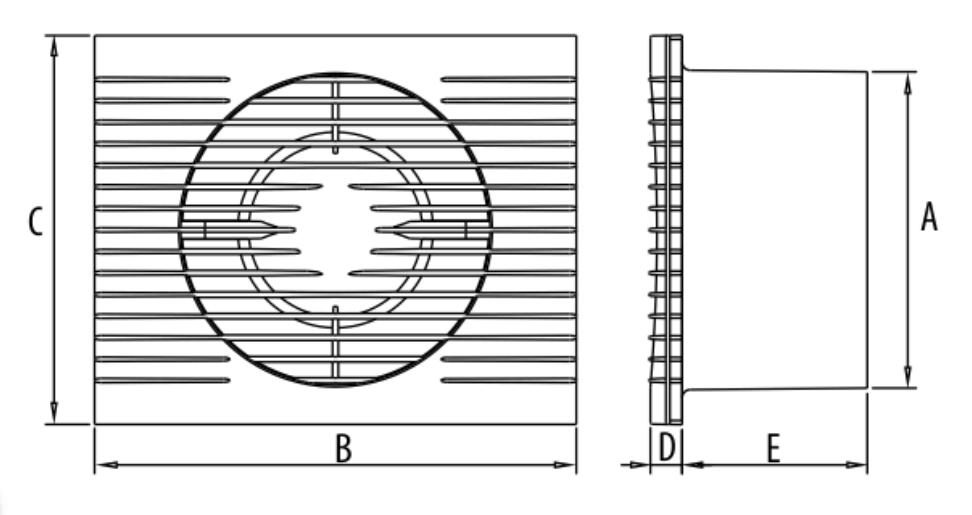 Wentylator Dospel Styl II wymiary